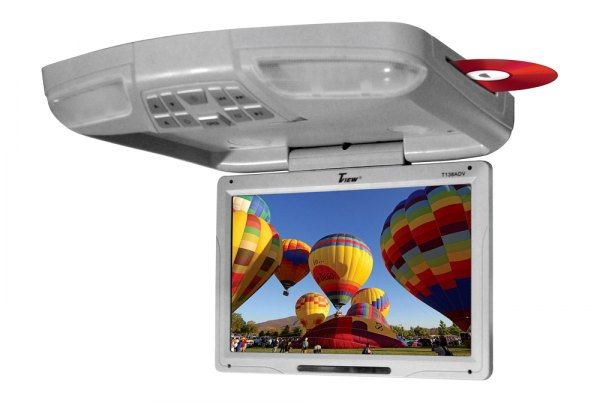 "Tview® - 13"" Gray Flip Down Monitor with Built-In DVD/USB/SD Player"