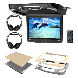 "Tview® - 14.1"" Flip Down TFT Monitor with Built-In DVD Player, 3 Housings Options and 2 Wireless Headphones"