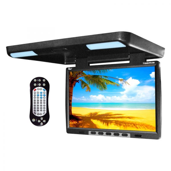 "Tview® - 15.4"" Black Flip Down TFT Monitor with Built-In DVD IR/FM Transmitter"