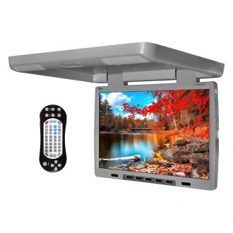 "Tview® - 15.4"" Gray Flip Down TFT Monitor with Built-In DVD IR/FM Transmitter"