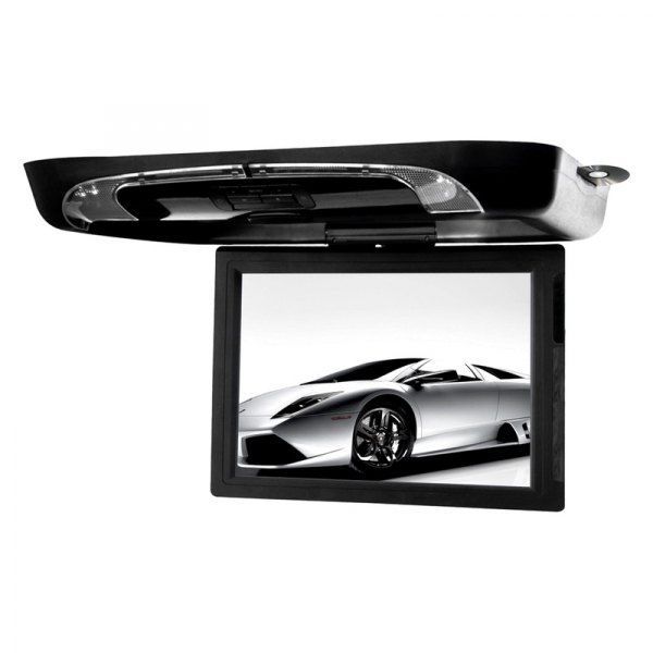 "Tview® - 15"" Black Flip Down Monitor with Built-In DVD/USB/SD/IR/FM Player"