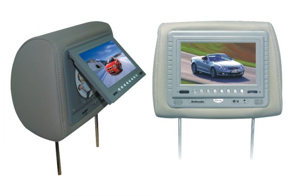 "Tview® - Gray Headrest with 7"" Monitor and Buil-In DVD Player"