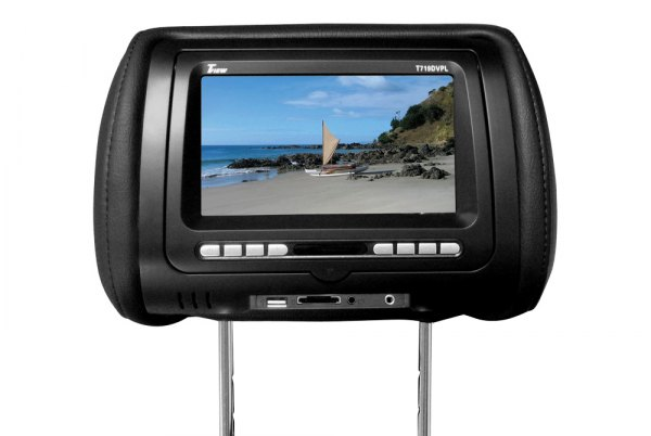 "Tview® - Black Headrest with 7"" Monitor and Built-In DVD Player"