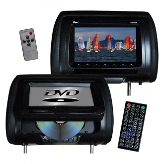 Tview® - Black Headrest with 7 Monitor and Built-In DVD Player with Speakers