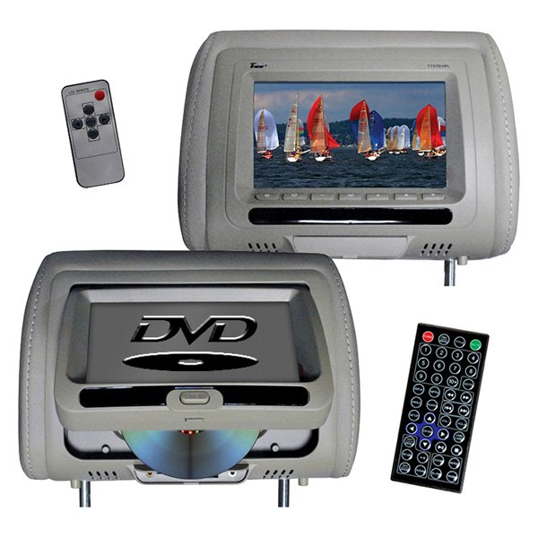 "Tview® - 7"" Gray Headrest LCD Monitor with Built-In DVD Player"