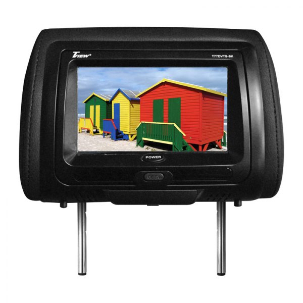 "Tview® - Black Headrest with 7"" TFT Touch Screen Monitor and Built-In DVD Player"