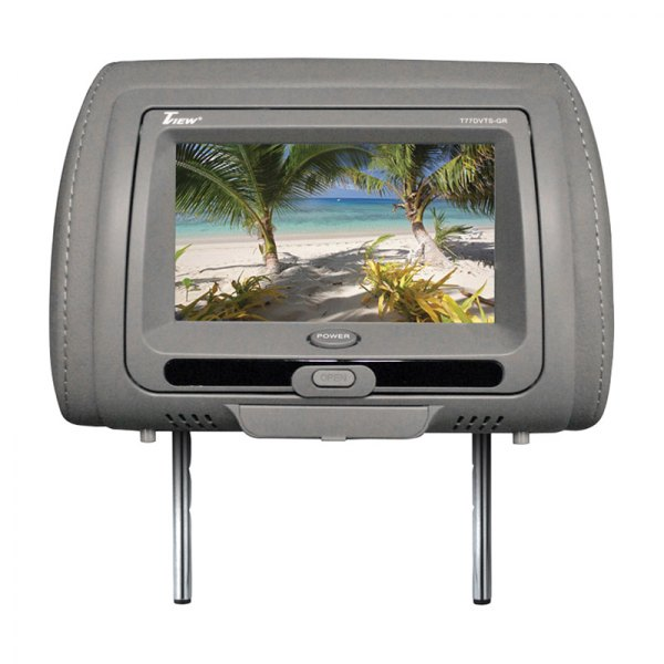 "Tview® - Gray Headrest with 7"" TFT Touch Screen Monitor and Built-In DVD Player"