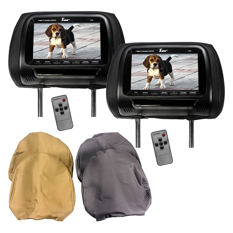 "Tview® T77PL - 7"" Black Headrest TFT Monitors with 3 Interchangeable Covers"