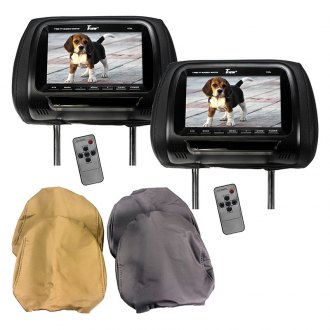 "Tview® - 7"" Black Headrest TFT Monitors with 3 Interchangeable Covers"