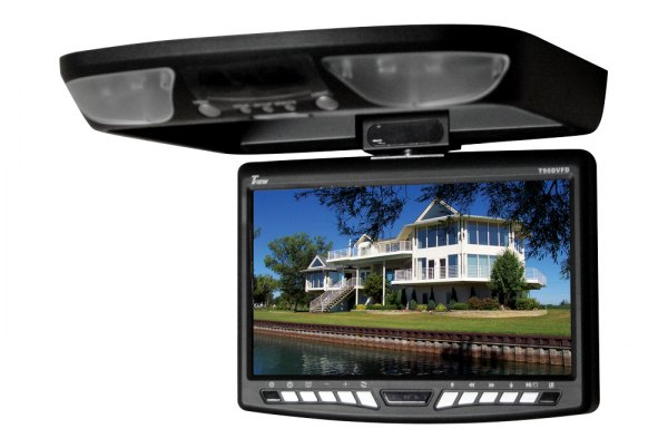 "Tview® - 9"" Black Flip Down TFT Monitor with Built-In DVD Player"
