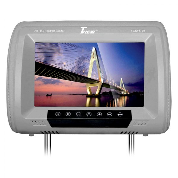 "Tview® - Gray Headrest with 9"" LED Monitor and Built-In IR Transmitter"