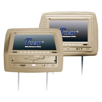 Tview® - Tan Headrest with 9 Monitor and Built-In DVD Player
