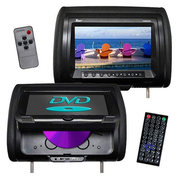 "Tview® - 9"" Black Headrest Monitor with Built-In DVD Player"