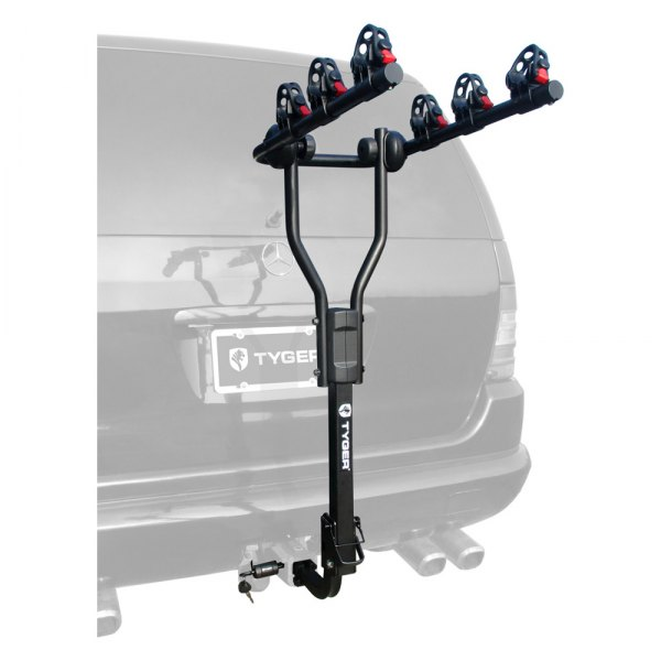 TYGER 4-bike Carrier Rack Fits both 1-1//4/'/' and 2/'/' Hitch Receiver-Black w//Lock