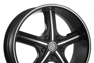 "U2® - 55M-A Black with Machined Face and Stripe (22"" x 9.5"", +13 Offset, 5x127 Bolt Pattern, 78.1mm Hub)"