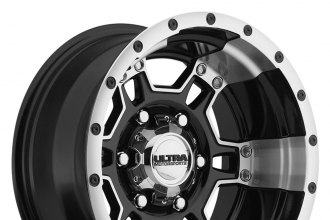 "ULTRA® - MONGOOSE 178B Gloss Black with Diamond Cut Accents and Ring (16"" x 8"", +1 Offset, 6x139.7 Bolt Pattern, 106.1mm Hub)"