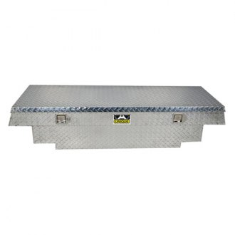 Unique Truck Accessories® - Brute Stair Notches Wide Dual Lid Gull Wing Crossover Tool Box