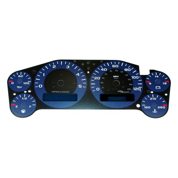 US Speedo® - Daytona Edition Blue Gauge Face Kit with Blue Night Lettering Color, 120 MPH
