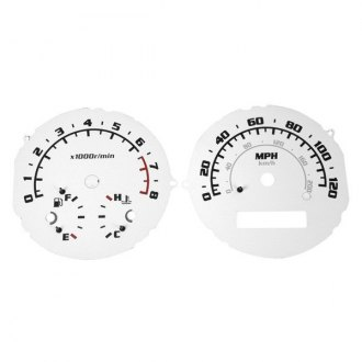 US Speedo® - Daytona Edition Silver Gauge Face Kit with Blue Night Lettering Color, 120 MPH
