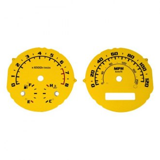 US Speedo® - Daytona Edition Yellow Gauge Face Kit with Blue Night Lettering Color, 120 MPH