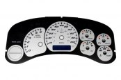 US Speedo® - Daytona Edition Silver Gauge Face Kit with Blue Night Lighting, 100 MPH / 180 KMH