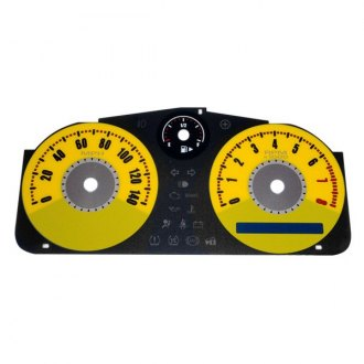 US Speedo® - Daytona Edition Yellow Gauge Face Kit with Yellow Night Lettering Color, 140 MPH 8000 RPM