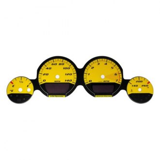 US Speedo® - Daytona Edition Yellow Gauge Face Kit with Yellow Night Lettering Color, 140 MPH