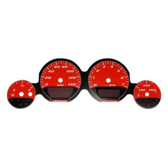US Speedo® - Daytona Edition Red Gauge Face Kit with Red Night Lettering Color, 140 MPH
