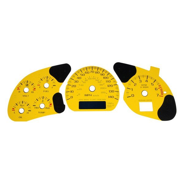US Speedo® - Daytona Edition Yellow Gauge Face Kit with Blue Night Lettering Color, 140 MPH