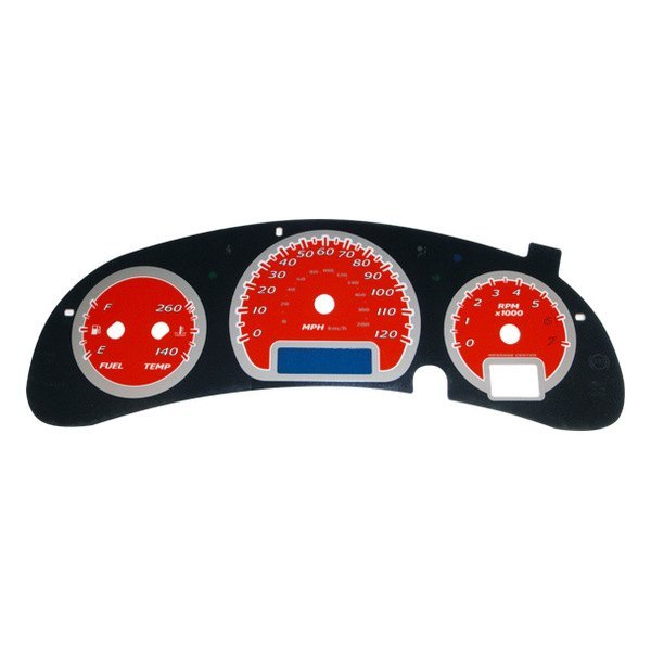 US Speedo® - Daytona Edition Red Gauge Face Kit with Blue Night Lighting, 120 MPH