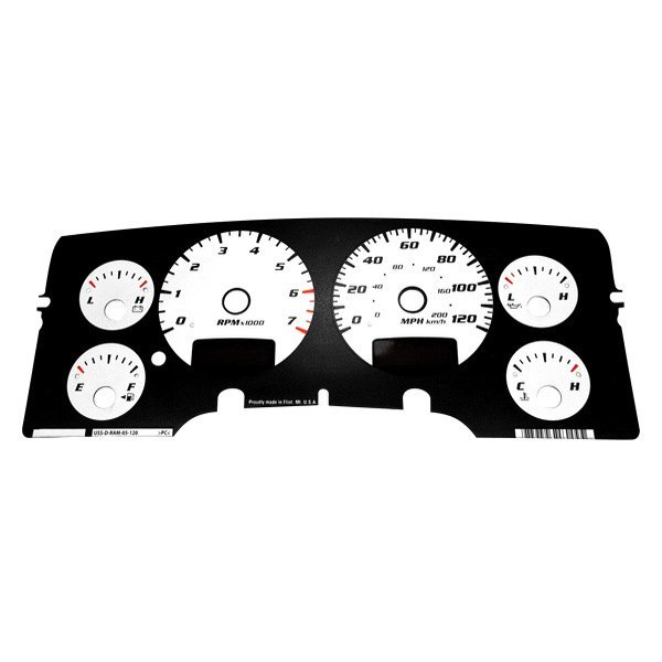 US Speedo® - Daytona Edition White Gauge Face Kit with White Night Lettering Color, 120 MPH 7000 RPM