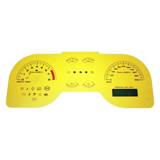 US Speedo® - Daytona Edition Gauge Face Kit with White Night Lettering Color, Yellow, 200 MPH