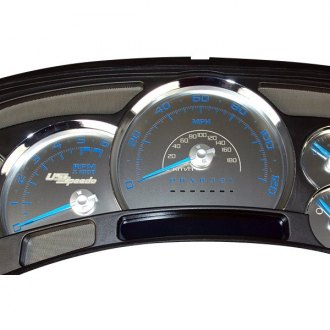 US Speedo® - Stainless Steel Gauge Face Kit with Blue Numbers, 120 MPH