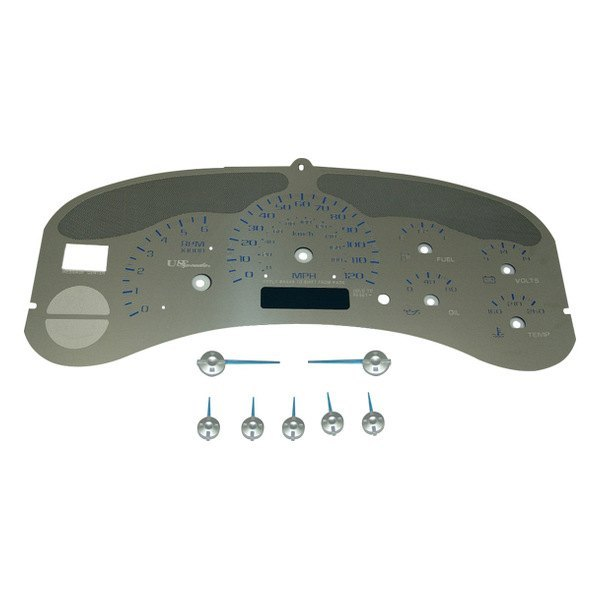 US Speedo® - Stainless Steel Gauge Face Kit with Blue Numbers