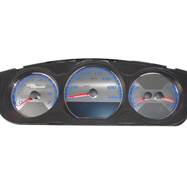 US Speedo® - Stainless Steel Gauge Face Kit with Blue Numbers, 140 MPH and 7000 RPM