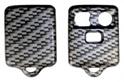 US Speedo® - Silver Carbon Fiber 3 Buttons Designer Key Fob Case with Battery in Back Cover