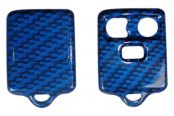 US Speedo® - Blue Carbon Fiber 3 Buttons Designer Key Fob Case with Battery in Back Cover