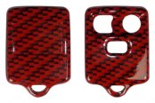 US Speedo® - Red Carbon Fiber 3 Buttons Designer Key Fob Case with Battery in Back Cover