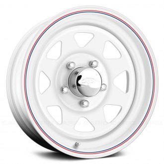 US WHEELS® - 8 SPOKE (Series 70) White with Red and Blue Stripe