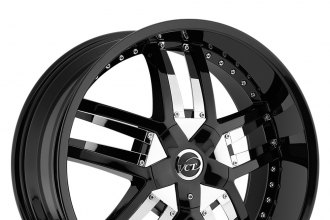 "VCT® - LOMBARDI Black with Chrome Inserts A Style (20"" x 8.5"", +40 Offset, 5x114.3 Bolt Pattern, 73.1mm Hub)"