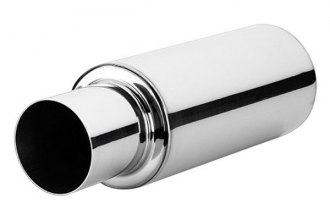 "Vibrant Performance® 1057 - TPV 304 SS Muffler with 4"" Round Straight Cut Tip (2.5"" Inlet / Outlet, 23"" Length)"