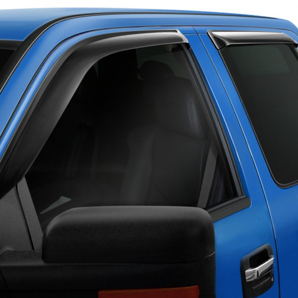Image may not reflect your exact vehicle! Wade® - Tape-On Slim Design Smoke Front and Rear Window Deflectors