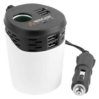 Wagan® - PowerCup 6.2™ Cup-Holder Design 4-Port USB Car Charger with DC Socket