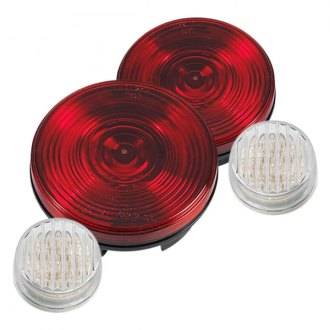 "Warrior® - 4"" Chrome/Red Tail Lights Kit"