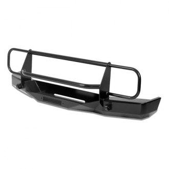 Warrior® - Rock Crawler Full Width Black Front Winch HD Bumper with Brush Guard