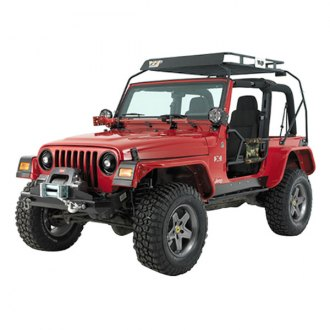 Warrior® - Stubby Black Front Winch HD Bumper with Brush Guard