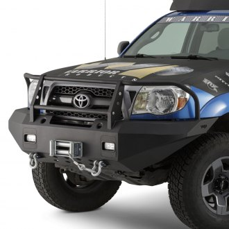 Warrior® - Full Width Black Front Winch HD Bumper with Grille Guard