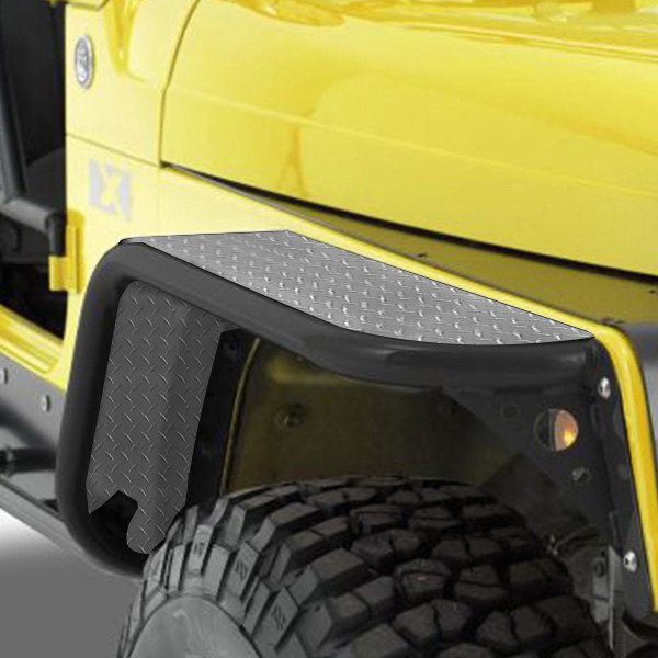 JEEP YJ DIAMOND PLATE FRONT FENDER COVERS off road