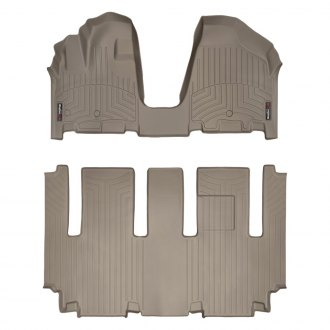 WeatherTech® - DigitalFit™ 1st & 2nd Row Tan Floor Liners Set, Over The Hump