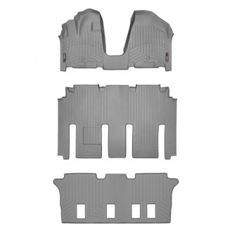 WeatherTech® - DigitalFit™ 1st, 2nd & 3rd Row Gray Floor Liners Set, Over The Hump